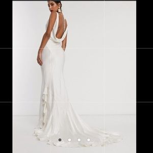 Satin wedding dress with flutter train